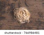 hand made linguine or bavette... | Shutterstock . vector #766986481