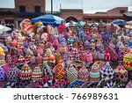 Small photo of Woolen products on a traditional Moroccan market (souk) in Marra