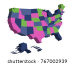3d map of united states of... | Shutterstock .eps vector #767002939
