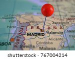 madrid marked on map with red... | Shutterstock . vector #767004214