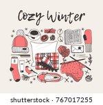 hand drawn fashion illustration.... | Shutterstock .eps vector #767017255