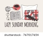 hand drawn morning fashion... | Shutterstock .eps vector #767017654