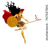 minerva palas athena greek...   Shutterstock .eps vector #767037841