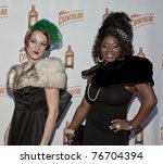 NEW YORK - MAY 05: Burlesque artists Jen Minsky & Perle Noire attend launch of Dita Von Teese new signature cocktail 'The Cointreau MargaDita' at Los Feliz restaurant on May 05, 2011 in New York City, NY - stock photo