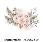 watercolor bouquet with flowers ... | Shutterstock . vector #767059519