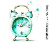 vintage watercolor sweet alarm... | Shutterstock . vector #767074801