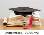 graduation cap with book and... | Shutterstock . vector #76708792