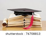 graduation cap with book and... | Shutterstock . vector #76708813