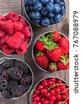 colorful close up berries... | Shutterstock . vector #767088979