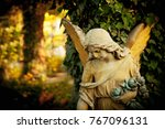 vintage image of ancient statue ...   Shutterstock . vector #767096131