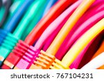 colorful network cables... | Shutterstock . vector #767104231