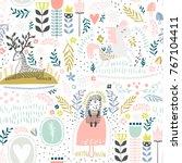 seamless woodland pattern.... | Shutterstock .eps vector #767104411