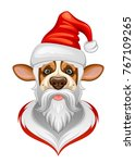 new year dog on a white... | Shutterstock .eps vector #767109265