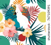 tropical seamless pattern with... | Shutterstock .eps vector #767109391