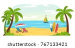 tropical beach landscape vector ... | Shutterstock .eps vector #767133421