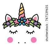 minimalistic unicorn face with... | Shutterstock .eps vector #767139631