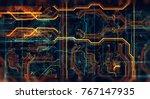 abstract technological... | Shutterstock . vector #767147935