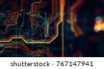 abstract technological... | Shutterstock . vector #767147941