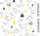seamless pattern with cute... | Shutterstock .eps vector #767157004