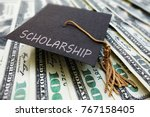 scholarship graduation cap on... | Shutterstock . vector #767158405