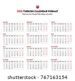 2018 calendar in turkishformat. ... | Shutterstock .eps vector #767163154
