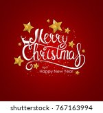 merry christmas and new year... | Shutterstock .eps vector #767163994