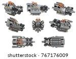 sci fi engine steel futuristic... | Shutterstock . vector #767176009