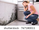 Small photo of Close-up Of A Shocked Woman Looking At Mold On Wall