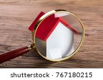closeup of magnifying glass and ... | Shutterstock . vector #767180215