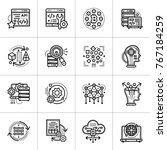 linear icon set of data science ... | Shutterstock . vector #767184259