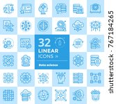 linear icon set of data science ... | Shutterstock . vector #767184265