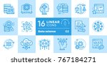 linear icon set of data science ... | Shutterstock . vector #767184271