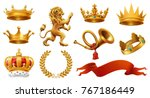 gold crown of the king. laurel... | Shutterstock .eps vector #767186449