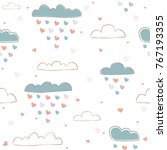 Seamless Pattern With Cute Han...