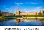 Small photo of Clare & King's College with beautiful blue sky in Cambridge, UK
