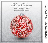 christmas card. red christmas... | Shutterstock .eps vector #767199691