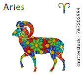 zodiac sign aries with filling... | Shutterstock .eps vector #767202994