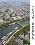 Paris. River Seine with the height. Urban scene. - stock photo