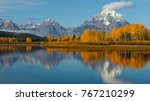panoramic image of mt moran on... | Shutterstock . vector #767210299