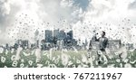 young businessman sitting on... | Shutterstock . vector #767211967