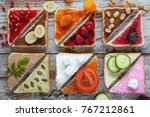 top view of various sliced... | Shutterstock . vector #767212861