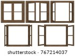Wooden Window Frame Isolated O...