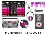 vector illustration with pink... | Shutterstock .eps vector #767219365