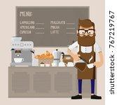 caucasian friendly barista... | Shutterstock .eps vector #767219767