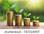growing plant on stack money... | Shutterstock . vector #767223457