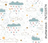 seamless pattern with cute hand ... | Shutterstock .eps vector #767223574