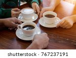 close up of hands with coffee... | Shutterstock . vector #767237191