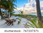 sunset at paradise beach  ... | Shutterstock . vector #767237371