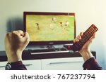 goal. man watching football... | Shutterstock . vector #767237794