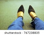 a girl with jeans and hight... | Shutterstock . vector #767238835